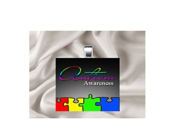 Pendant Necklace Awareness Ribbon Multi Color Autism