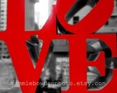 LOVE - NYC Details - Original Photograph - New York City Landmark Black and White Red Pop of Color Street Photography Urban Sculpture