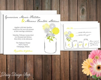 Wedding Invitation - Mason Jar with Wildflower Medley - Invitation and RSVP Card with Envelopes