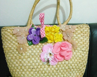 """NOS New Never Used 90s Vintage Large Beach Straw Bag Tote Bag from the British Brand """"Warehouse"""" - beach party, tea party, garden party"""