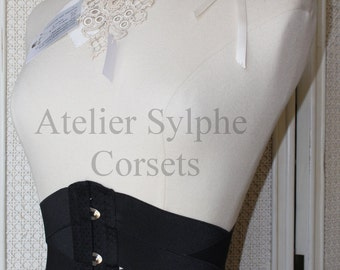 Waist cincher underbust corset in black coutil and stretch elastic ribbons Totaly closed waist size is  56cm(22 inches)