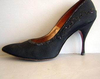 Vintage 50s Spike Stiletto Heels - Black Magic Crystal Studded - Womens US 5 1/2 Narrow