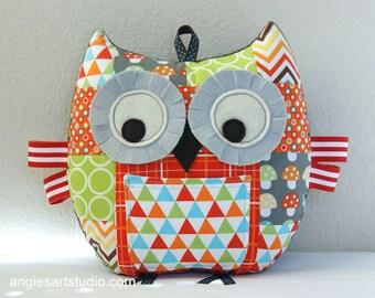 Patchwork Owl, Tooth Fairy Pillow, Owl Pillow, Stuffed Animal, Owl Plush Toy, Unisex Baby Gift, Orange Green Gray