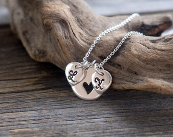 Sterling Silver Personalized Initial Necklace - Mother Jewelry . Gift Ideas for Her, New Baby, Baby Shower, Mom-to-Be . Heart Necklace