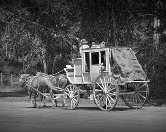 Frontier Stagecoach at the Historical Fort Edmonton Museum in Edmonton Alberta Canada No.1593BW A Black and White Fine Art Photograph