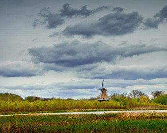 Landscape with the DeZwaan Dutch Windmill on Windmill Island in Holland Michigan during Tulip Time Festival No.278 - A Landscape Photograph