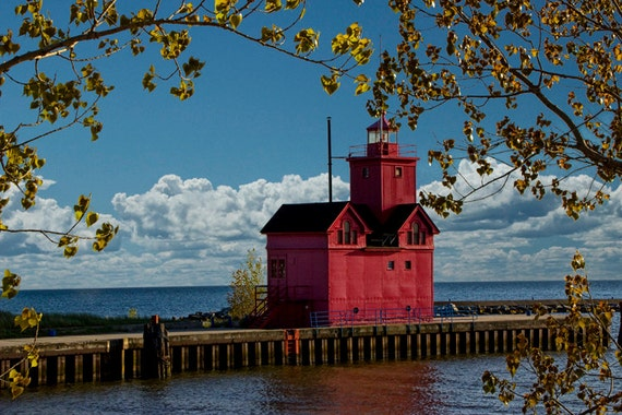 Big Red Lighthouse by Ottawa Beach State Park in Holland Michigan during Autumn No.0255 - A Fine Art Lighthouse Seascape Photograph