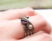 Sterling Silver Wide Band, Oxidized Organic Wrap Ring, Amethyst Ring, February Birthstone