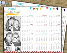 Year At A Glance Printable Photo Collage Calendar Customized with your Favorite Photos - DIY Printable File