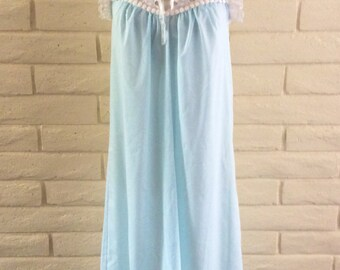 vintage 50s Powder Blue Sandra Dee Sheer Nightgown///size S