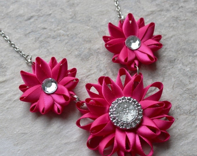Hot Pink Necklace, Fuchsia Necklace, Magenta Jewelry, Fuchsia Jewelry, Fuchsia Wedding, Hot Pink Wedding, Magenta Necklace, Cerise Necklace