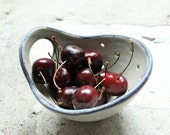 Pottery Berry Bowl with Handle - Small in Soft Gray with Black Rim - Ceramic Colander