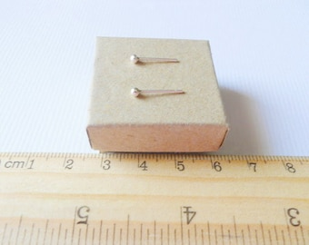 1 pair of  2 mm Tiny silver ball post stud earrings,92.5% Sterling Silver Cartilage/Lip/ Nose/Ear Piercing, Nickel free .