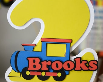 Train Birthday Party Decoration - CAKE TOPPER - CUSTOM Name/Age