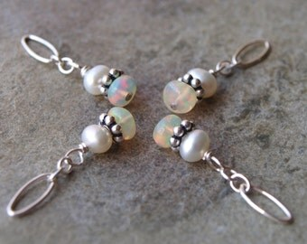 Tiny Opal and White Pearl Charm