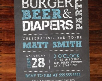 Burger and beer, Diaper invitation - set of 15