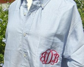 Oversized Classic Oxford Shirt with Monogram for Button Down with Pocket Plus Size Available Bridal Party