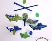 "Baby Mobile - Nursery Mobile - Baby Boy Alligators Crib Mobile - ""Green and Navy Blue Crocodiles and Circles "" Mobile  (Match your bedding))"