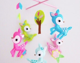 """Baby Crib Mobile - Baby Mobile - Decorative Nursery Mobile - """"Five little girly deers"""" (Pick your color)"""