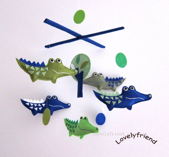 """Baby Mobile - Nursery Mobile - Baby Boy Alligators Crib Mobile - """"Green and Navy Blue Crocodiles and Circles """" Mobile  (Match your bedding))"""