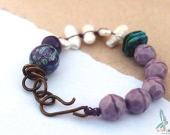 Purple, teal, art bead, Lampwork bead, LoriLochner, Ceramic bead, BoHulleyBeads, Pearls, bohemian, fashionjewelry, boho, by Esfera jewelry