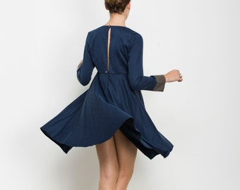 Blue cotton Dress, Blue dress, short party dress, blue Day Dress, knee length dress, Long Sleeve dress, open back, day to night,