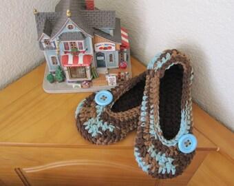 Crochet Womens Slippers, Women's House Slippers, Crochet Slippers, House Shoes,  Earth and Sky with Button