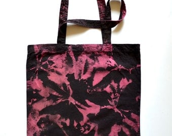 Tie Dye Tote Bag,  Hand Dyed Shibori Cotton Canvas Tote Bag, Magenta and Black, Rocker Girl, Goth