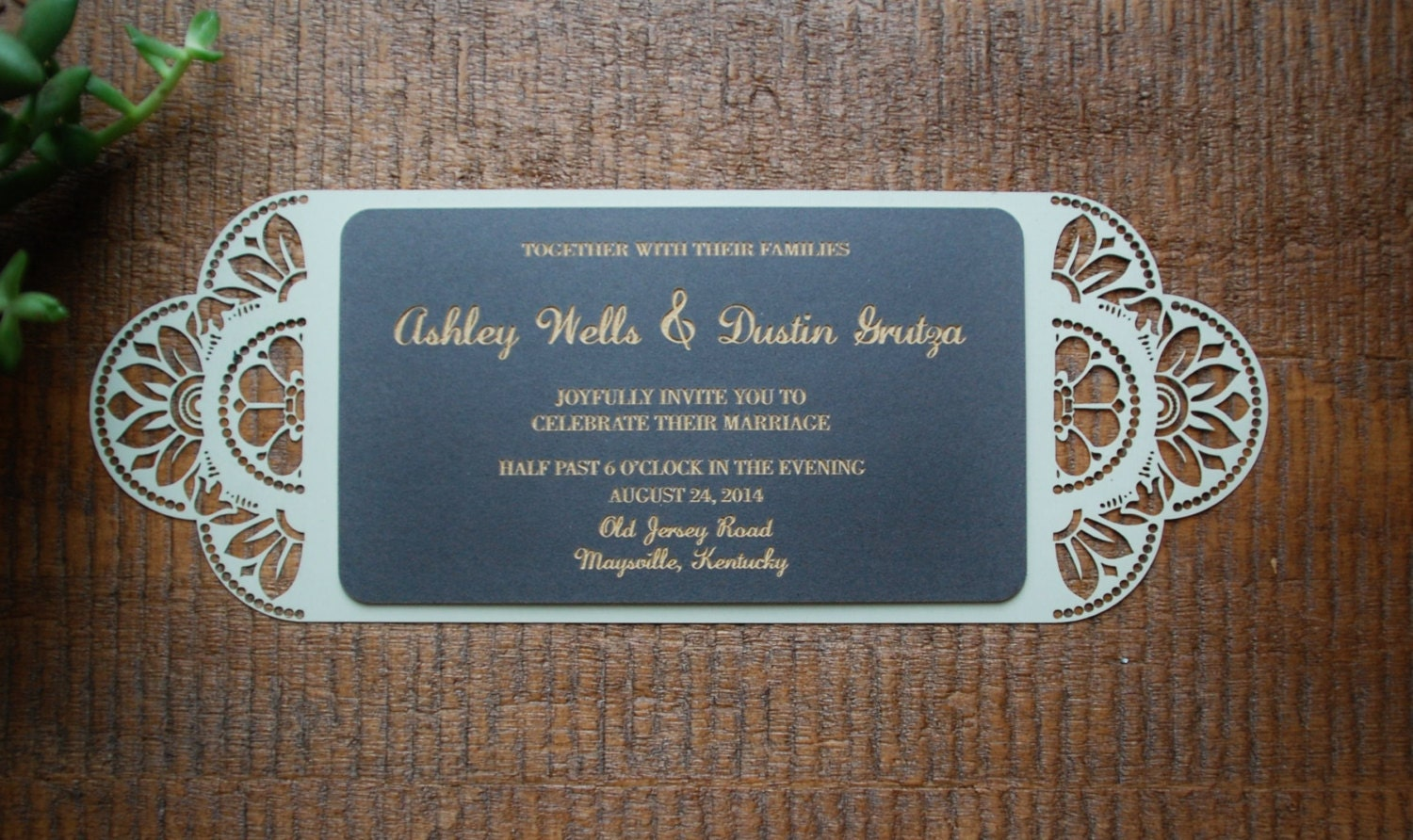 Textured Paper For Wedding Invitations: Paper Cut Textured Wedding Invitation