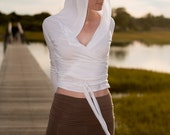 White or Black Hoodie Yoga Wrap Top in Bamboo Jersey Knit - Lightweight