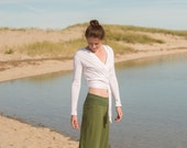 Wide Leg Yoga Pant in Olive Bamboo/Organic Cotton Jersey Knit - Fold Over Waistband - Women