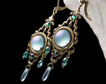 Peacock Blue Green Victorian Chandelier Earrings, Aqua Turquoise Frost Edwardian Bridal Drops, Antiqued Brass, Titanic Temptations Jewelry