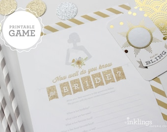 """Printable """"How Well Do You Know The Bride?"""" Game // Choose your color"""
