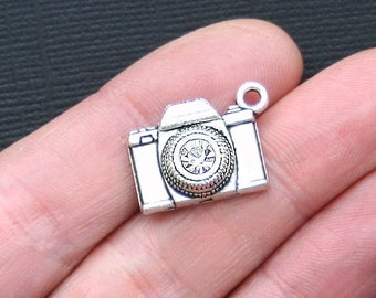 5 Camera Charms Antique Silver Tone with Rhinestone Lens - SC3057