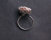 organic sculpture - raw sunstone cocoon ring, gradient oxidize silver, ooak