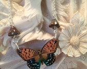 Monarch type Butterfly Necklace with Czech and Picasso on Silver