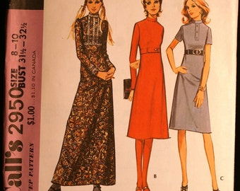 McCalls 2950 Misses High Waisted Dress in 3 Lengths Vintage 70s Sewing Pattern Sz 8-10