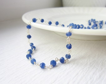 Rich Blue Sapphire Jewelry - Sterling Silver Layering Chain - Rosary Style Necklace - September Birthstone - Sapphire Birthstone