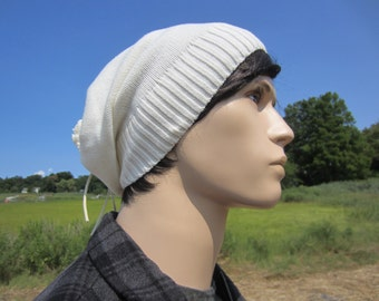 Men's Tie Back Slouchy Beanie Hat Winter White Thick Knit Ivory Slouch Beanie Warm Winter Hats A1281