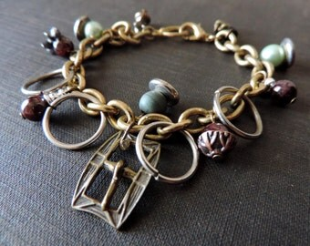Mixed Materials Bracelet - Vintage Brass Buckle, Garnets, Faux Green Pearls and Silver Rings Assemblage Jewelry