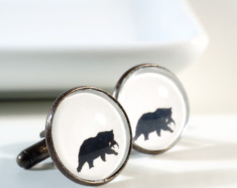 Silhouette Bear Cufflinks Personalized Wild Animal Cuff Links