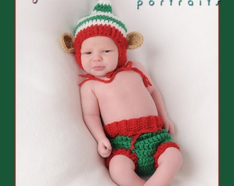 Santa's Helper Elf Hat and Diaper Cover SET, Newborn Christmas Hat and Diaper, Baby Christmas PHOTO PROP