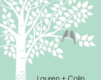 """Wedding Guest Book Alternative, Wedding Guest Book Tree, Wedding Guestbook, Mint Wedding - 16""""x20"""" Signature Keepsake Guestbook Poster"""