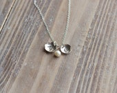 Initial Necklace - Sterling Silver Flower and Circle - Personalized Handstamped Necklace - Birthstone - Twins Necklace