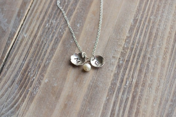Initial Necklace - Sterling Silver Flower and Circle - Personalized Handstamped Necklace - Pearl or Birthstone - Mother's Day Gift