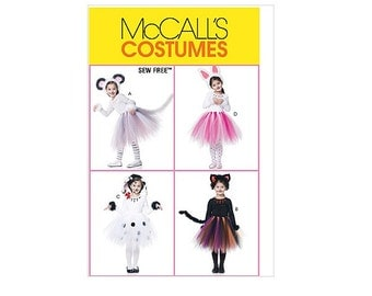 UNCUT OOP McCall's 6182 Pattern For Children's Sew Free Animal Tutu Costumes In Sizes 2-3-4-5 With Factory Folds