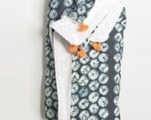 Shibori Navy Tassel Throw - Adult Throw - Navy with Contrast Orange Tassel Trim - Minky on Reverse