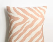 Zebra in Light Coral Pillow Cover - 18 x 18 - Modern Zebra Pillow Cover - Coastal Chic