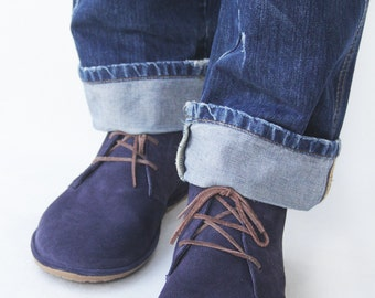 Lion in Blue Suede -  Men's Handmade Leather lace-up boots - CUSTOM FIT