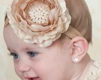 Baby Headband,Baby girl headband,baby headbands,girl headband,newborn headband,  big flower headband,Cream Headbad,Hair bows,hair clips.